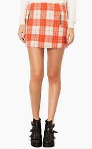 Plaid orange skirt