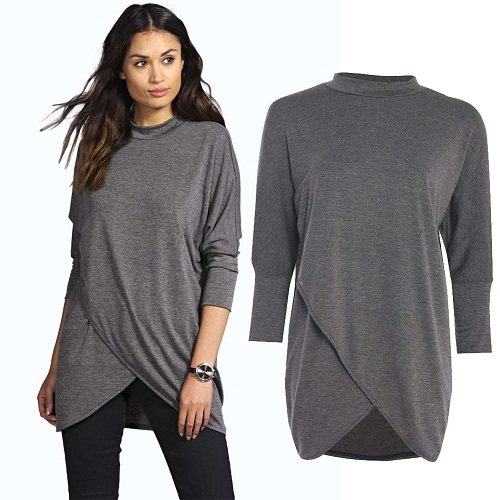Plain Designer High Neck Collar Winter Top