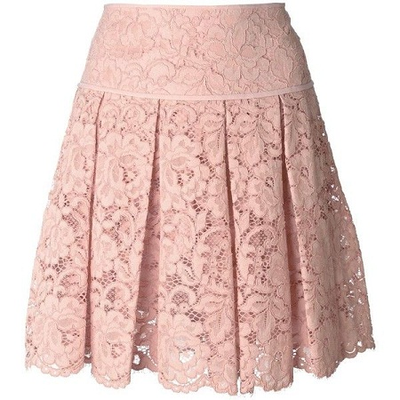 Pleated Rose color lace transparent Skirt