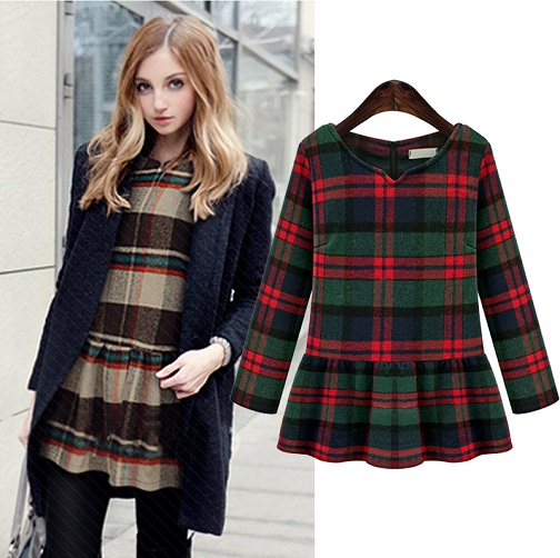 Pleated Winter Plaid Top