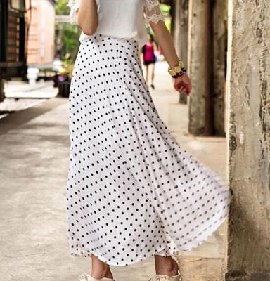 Polka dot Chiffon Maxi Skirt