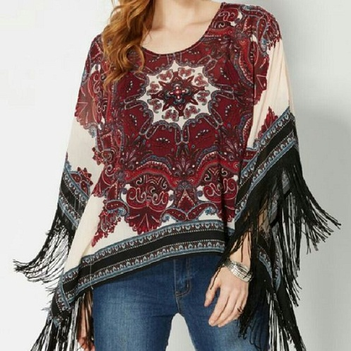 Poncho Polyester Top