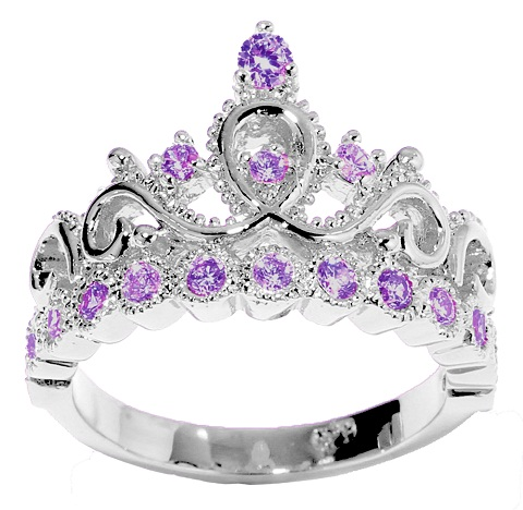 Princess crown February birthstone ring