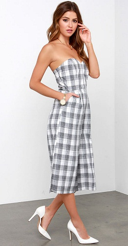 Printcess Grey Checkered Strapless Jumpsuit
