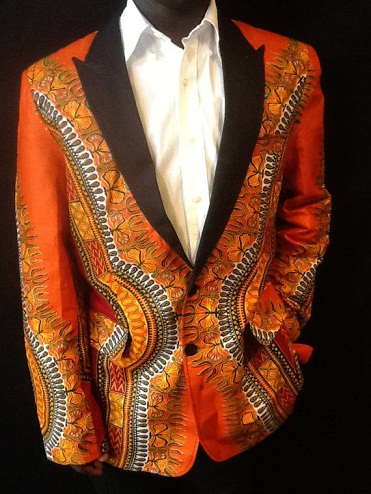 Printed Orange Blazer