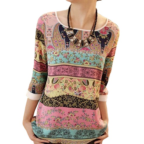 Printed Summer Tunics with Three Quarter Sleeves