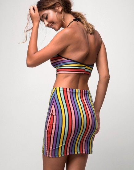 Rainbow stripes Mini bodycon skirt