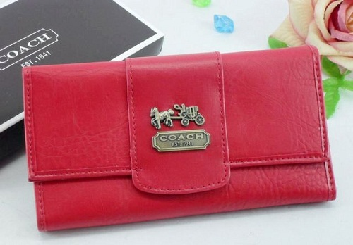 Red Leather with Gold Coach Branded Wallet