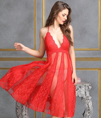 Red Plunged Neck Transparent Night Dress
