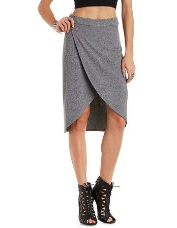 Ribbed Tulip Wrap Skirt