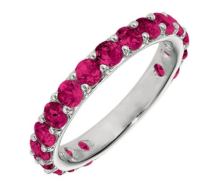 Ruby stackable July birthstone ring