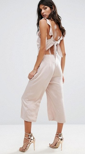 Ruffle bow backs Cropped Culotte Jumpsuit-3