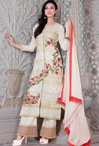 Salwar Suit with Lace Work Palazzo7