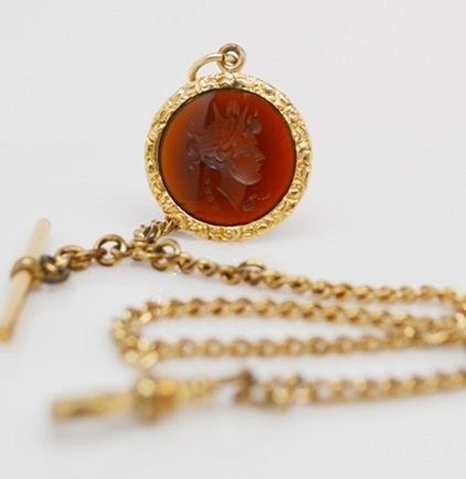 Sardonyx Chain and Pocket Watch for Men