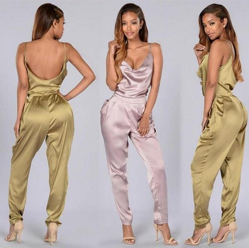 Satin Backless Jumpsuit