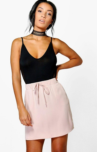 Satin Draw-In Waist Mini Skirt