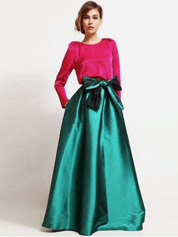Satin High-waisted skirt