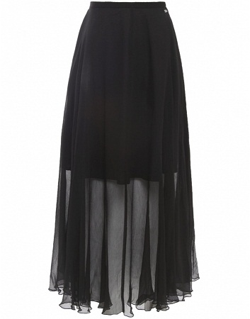 See-through Chiffon Black maxi Skirt