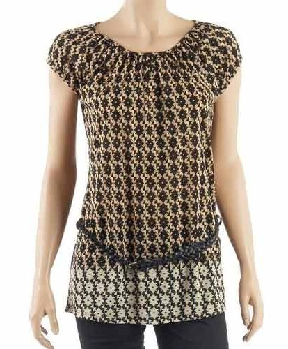 Short Sleeves Printed Tunics with Belt