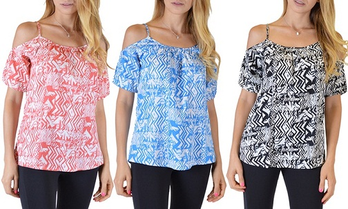 Shoulder Cut out Sleeve Zigzag-Printed Top