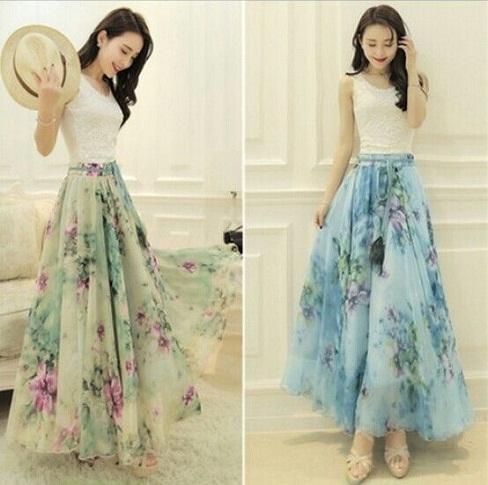 Silk Chiffon Long Skirts