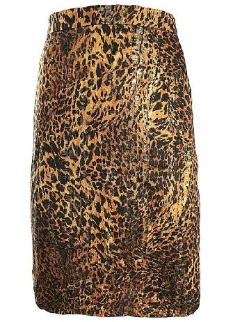 Silk Leopard High Waist Skirt
