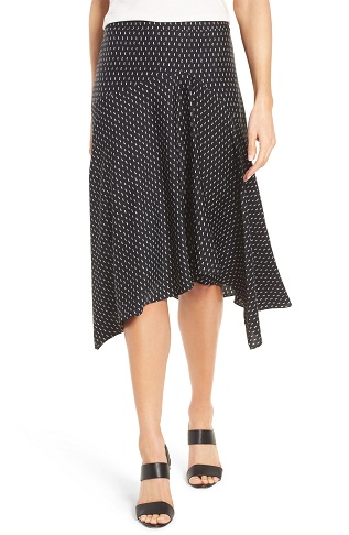 Silk Stretchable Midi Skirts with White Dots