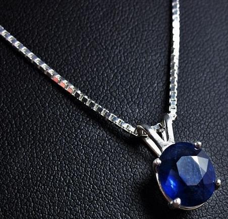 Single Stone Sapphire Pendant Chain