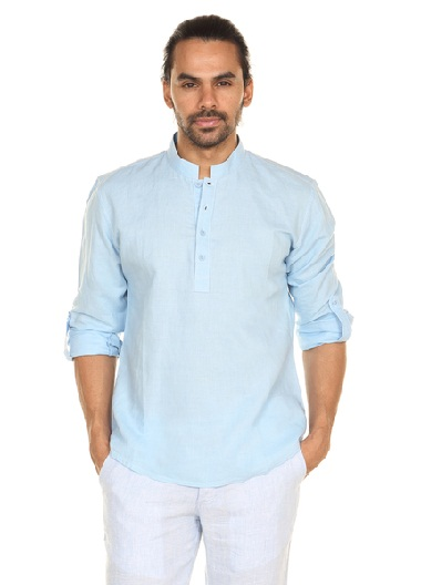 Sky blue Pullover Short Tunic for Men