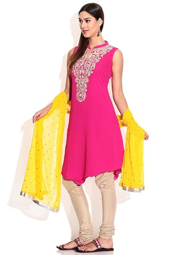 Sleeveless Churidar Kurta with Dupatta
