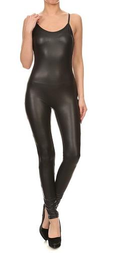 Sleeveless Leather Jumpsuit