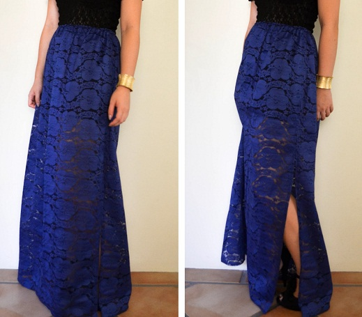 Slit Dark Blue Maxi Skirt