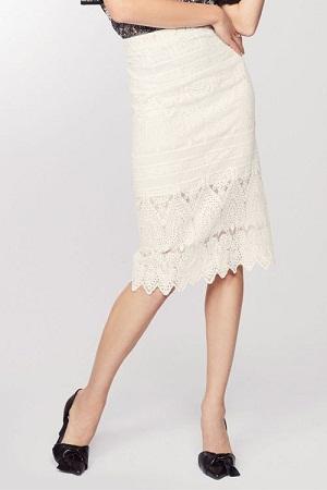Smart White Lace Midi Skirts