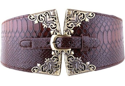 Snakeskin Designer Wide Maroon Leather Belt
