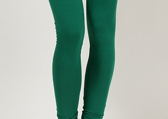 Solid Green Casual Churidar Leggings