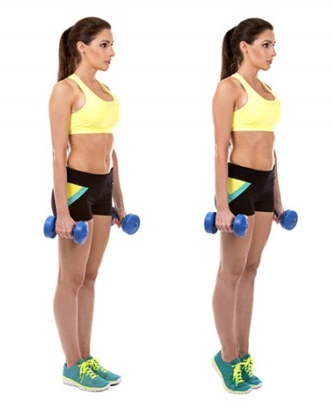Standing Calf Raise Exercises with Dumbbells