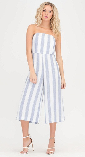 Stripe Pattern Strapless Jumpsuit