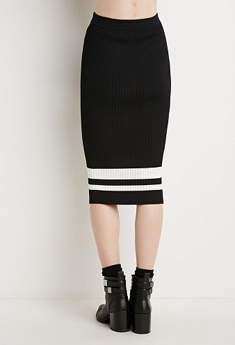Striped Bodycon Contemporary Midi Bodycon Skirt