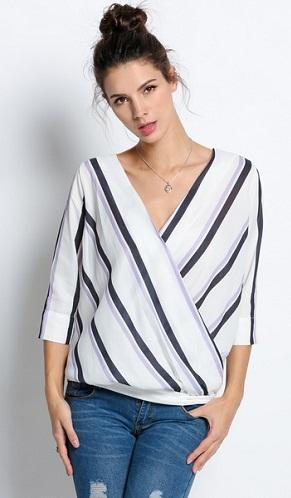 Striped Crossover Deep V neck Top