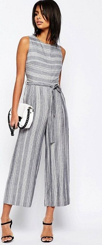 Stripped Linen Office Jumpsuit