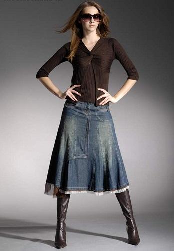 Stylish Denim Winter Skirts