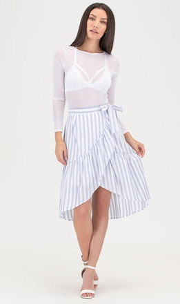 Stylish Stripped Linen Wrap Skirts