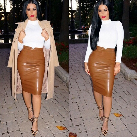 Synthetic Brown Leather Bodycon High Waist Pencil Skirt