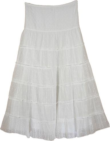 White Embroidery Long Skirt - thelittlebazaar.com