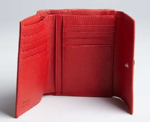 Tri- fold Leather Red Wallet