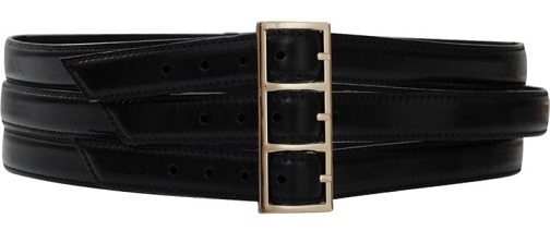 Triple Buckle Plain Black Wide Belt