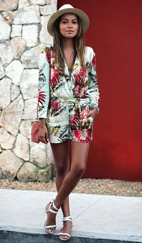 Tropical Print Romper Jumpsuit