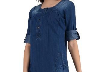 Turquoise Long Denim Tunic for Women