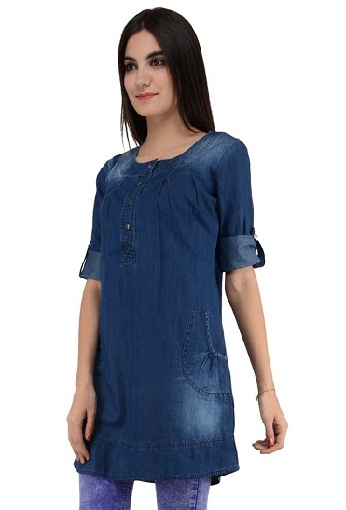 Turquoise Long Denim Tunic for Women