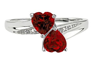 Twin hearts January birthstone ring